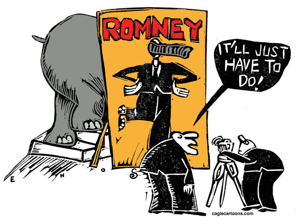 Randall Enos - Cagle Cartoons - GOP's Ill Fit - English - GOP, Republican candidate, Romney, Mitt Romney, election 2012,