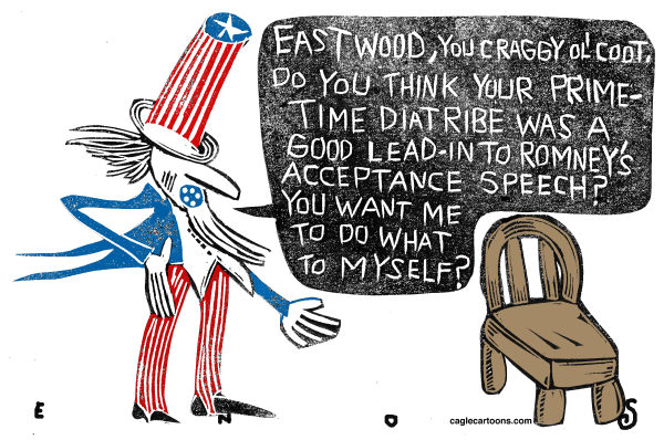 Randall Enos - Cagle Cartoons - Eastwood's Speech - English - clint eastwood,republican convention,election 2012