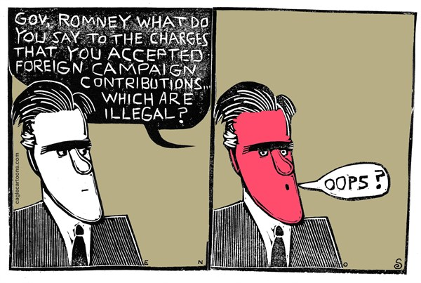 Randall Enos - Cagle Cartoons - Foreign Funds - English - illegal campaign funding, mitt romney, 2012 election,campaign funds