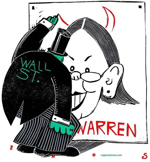 Randall Enos - Cagle Cartoons - Warren and Wall St - English - Elizabeth Warren, wall street