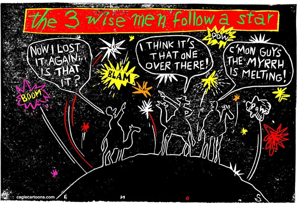 The Wise Men Follow a Star © Randall Enos,Cagle Cartoons,Israel,war in middle east,missiles,christmas wisemen,Christmas