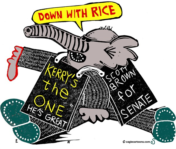 Randall Enos - Cagle Cartoons - GOP Agenda - English - GOP,Republicans,scott brown,susan rice,secretary of state,senate seat,senate