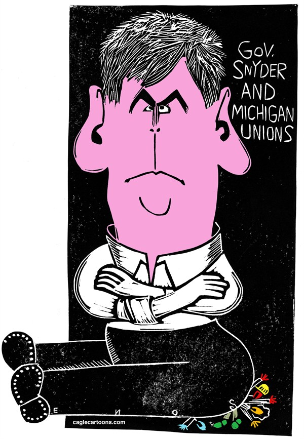 Randall Enos - Cagle Cartoons - Gov Rick Snyder - English - Gov Rick Snyder,michigan,right to work law,union busting,unions
