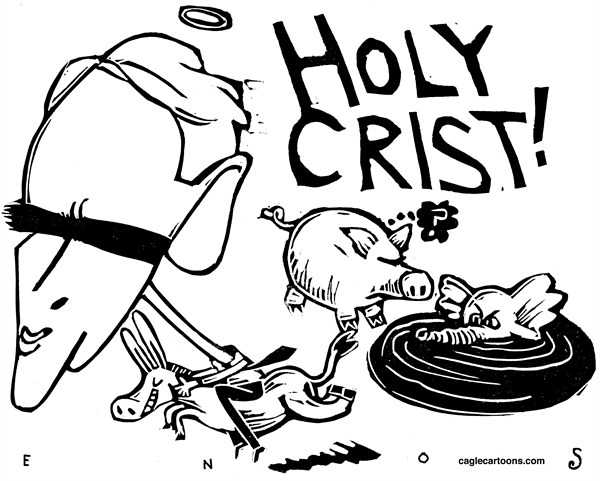 Randall Enos - Cagle Cartoons - Crist Leaves GOP - English - Charlie Crist,