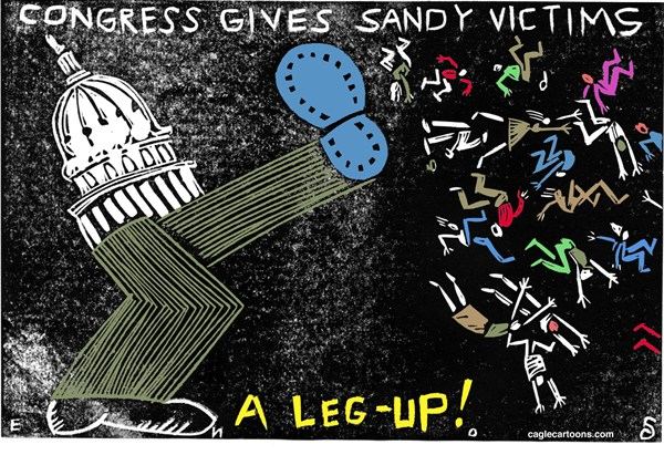 Randall Enos - Cagle Cartoons - Congress and Sandy Victims - English - congress,hurricane sandy,fema,federal disaster relief