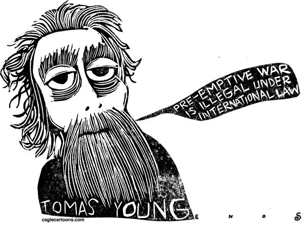 Randall Enos - Cagle Cartoons - Iraq Veteran Tomas Young - English - Iraq war,iraq veteran,tomas young