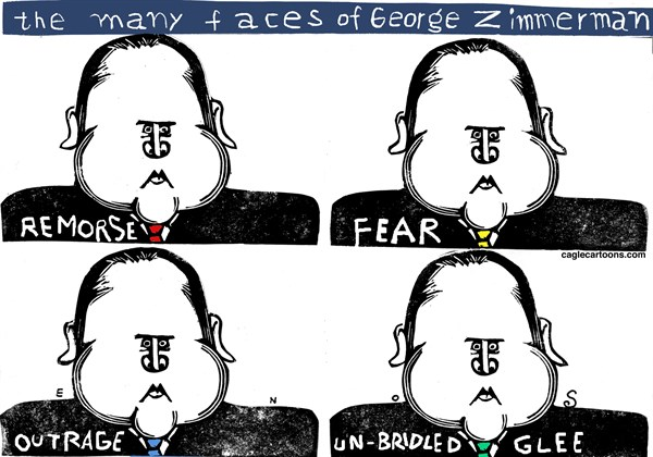 Randall Enos - Cagle Cartoons - George Zimmerman COLOR - English - george zimmerman,trayvon martin,stand your ground law