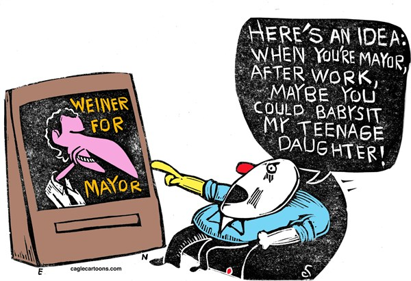 Randall Enos - Cagle Cartoons - Weiner For Mayor COLOR - English - anthony weiner,nyc mayoral race,weiner scandal,carlos danger,sexting