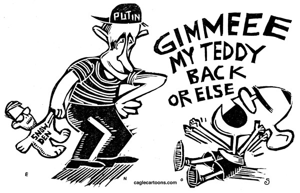 Randall Enos - Cagle Cartoons - Snowden in Russia - English - Edward snowden, russia,putin,whistleblower,obama