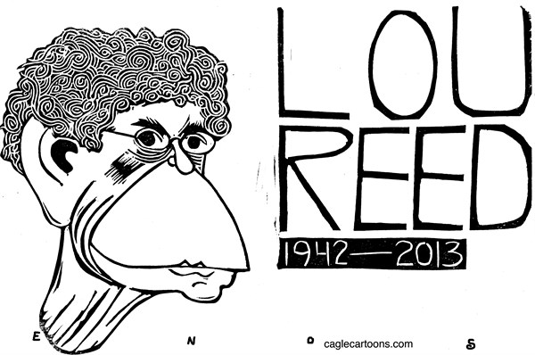 Randall Enos - Cagle Cartoons - Lou Reed - English - Lou Reed, music, rock music,velvet underground