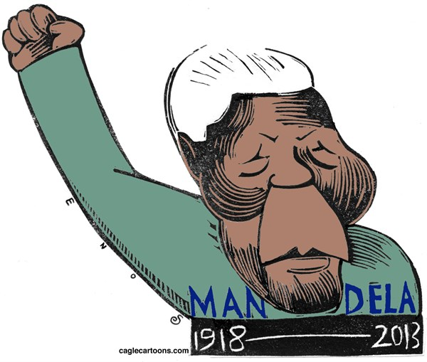 Randall Enos - Cagle Cartoons - Mandela COLOR - English - nelson mandela,south africa,aparthied