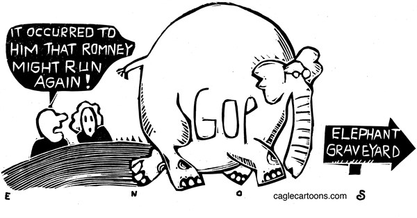 Randall Enos - Cagle Cartoons - GOP Graveyard - English - GOP, election 2016,republican candidates for 2016,mitt romney
