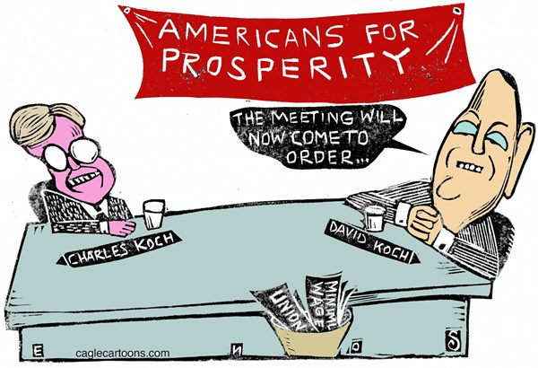 Randall Enos - Cagle Cartoons - Koch Prosperity COLOR - English - americans for prosperity,koch brothers,charles koch,david koch,