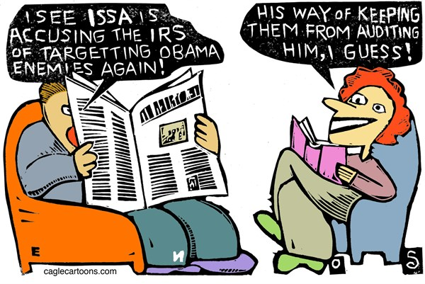 Randall Enos - Cagle Cartoons - Issa and the IRS COLOR - English - Darrell Issa,irs,obama,presidential oversight committee