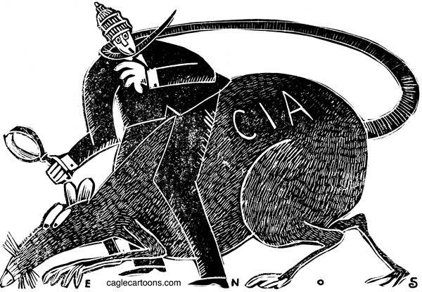 Randall Enos - Cagle Cartoons - CIA Spying - English - CIA,spying,dianne feinstein,senate intelligence committee,interrogation programs,post 9/11 detention,spying on senate