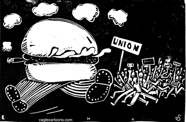 Randall Enos - Cagle Cartoons - Worker Revolt - English - fast food workers, strike,mcdonalds,unions workers rights,minimum wage