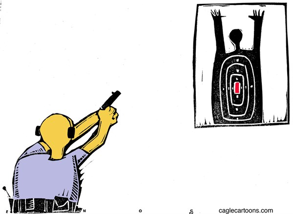 Randall Enos - Cagle Cartoons - Shooting Range COLOR - English - Michael Brown,ferguson mo,darren wilson,shooting,police violence,racial profiling