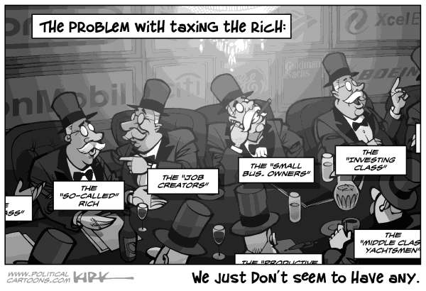 Kirk Anderson - Politicalcartoons.com - Taxing The Rich - English - tax, rich, tax the rich, class war, class warfare, wealth gap, wealth disparity, economics, tax rate, corporate tax, warren buffet, blah blah blah