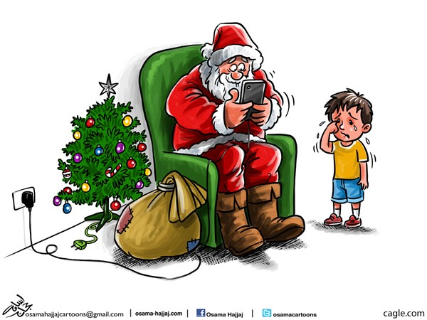 The new santa © Osama Hajjaj,Jordan,santa, christmas, claus, 2015, mobil, gifts, tree, new, year,