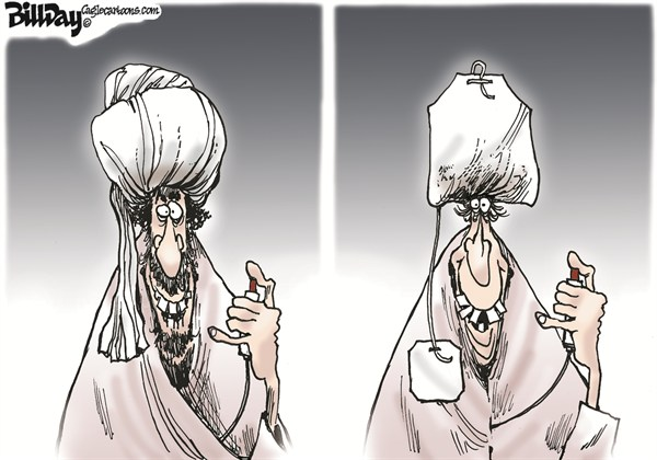 Bill Day - Cagle Cartoons - COLOR Tea Head - English - Tea Party,politics,GOP,Obama,terrorist,world