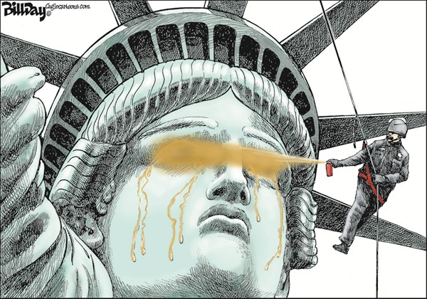 Bill Day - Cagle Cartoons - Blinded by the Right COLOR - English - OWS, pepper spray, economic justice, cartoon, statue of liberty
