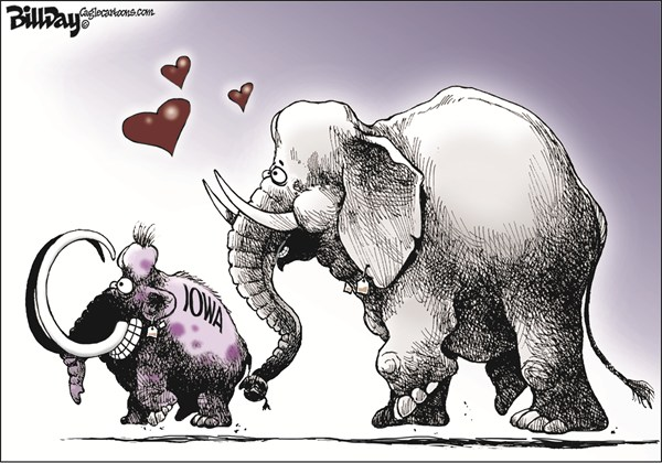Bill Day - Cagle Cartoons - Headed for Extinction - English - Iowa, GOP, caucus, tea party, extinction