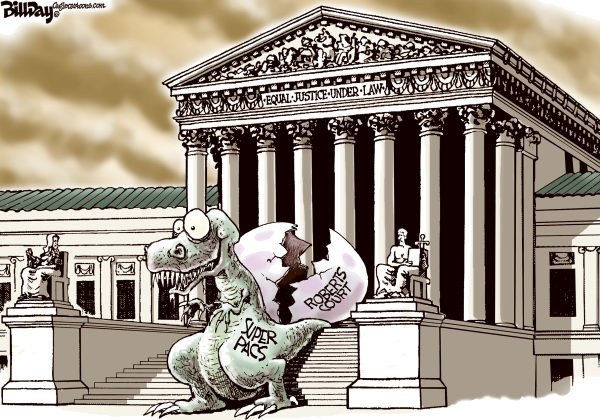 Bill Day - Cagle Cartoons - Jurasic PAC - English - super PAC, election, campaign, Supreme Court, GOP