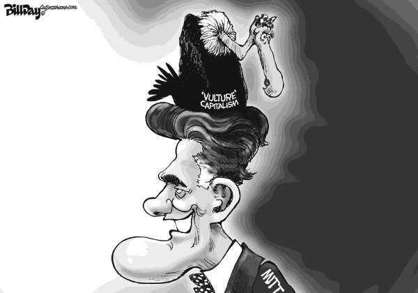 Bill Day - Cagle Cartoons - Birds of a Feather - English - Romney, vulture capitalism, wall street, GOP primaries