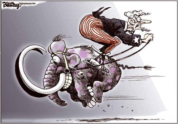 Wrong Way Rider COLOR © Bill Day,Cagle Cartoons,GOP, primaries, mammoth, election, Romney, Gingrich, Santorum
