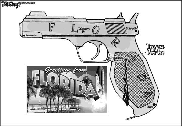 Bill Day - Cagle Cartoons - Welcome to Florida - English - Trayvon Martin, Stand Your Ground law, guns, Florida