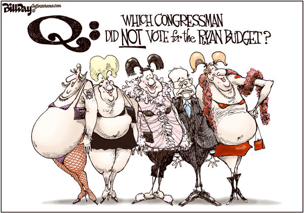Bill Day - Cagle Cartoons - The Ryanettes - English - Ryan budget, Congress, big business, tax cuts for wealthy, government spending, taxes, business