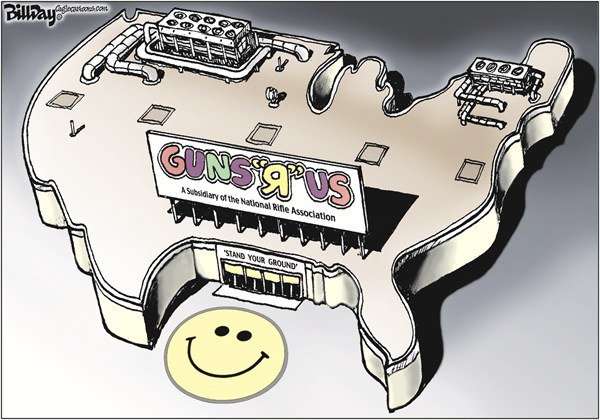 Bill Day - Cagle Cartoons - Guns Are Us - English - guns, NRA, gun laws, USA