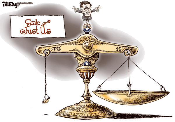 Bill Day - Cagle Cartoons - Scale of Just Us - English - Romney, scale, 1-99, GOP, injustice