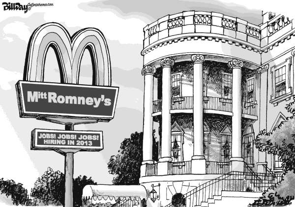 Bill Day - Cagle Cartoons - Mitt Romney's - English - low paying jobs, Romney, 99-1