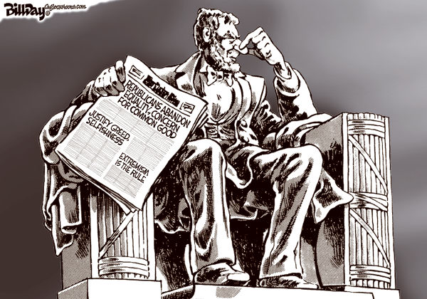 Bill Day - Cagle Cartoons - Not the Party of Lincoln - English - GOP, Lincoln, civil rights, extremism