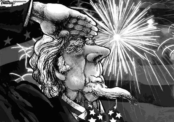 Bill Day - Cagle Cartoons - Happy Birthday - English - Birthday, Fourth of July, fireworks, Uncle Sam