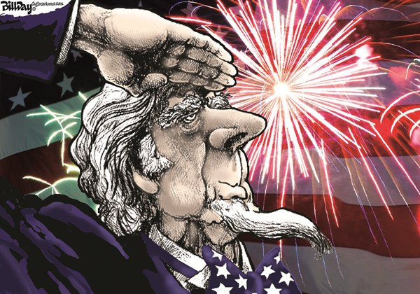 Bill Day - Cagle Cartoons - Feliz Cumpleaños America - Spanish - Dia, Festivo, Dia, de, la, Independencia, 4, de, julio, fuegos, artificiales, Tio, Sam