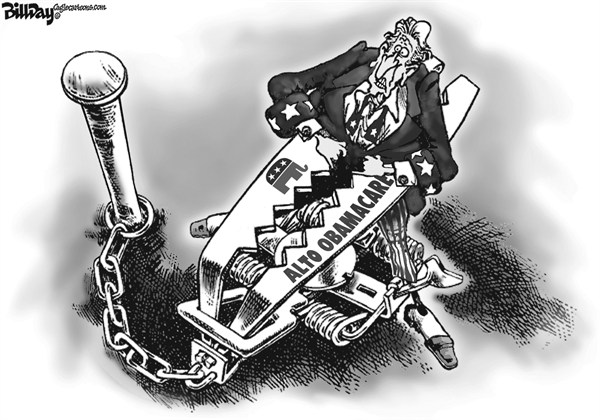 Bill Day - Cagle Cartoons - Trampa del Obamacare - Spanish - Salud, Reforma, Sistema, Salud, Obamacare, accesible, Ley, GOP, Romney, trampa