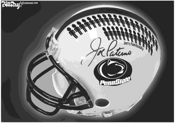 Bill Day - Cagle Cartoons - The Enabler - English - Paterno, Sandusky, Penn State, Child Molestation