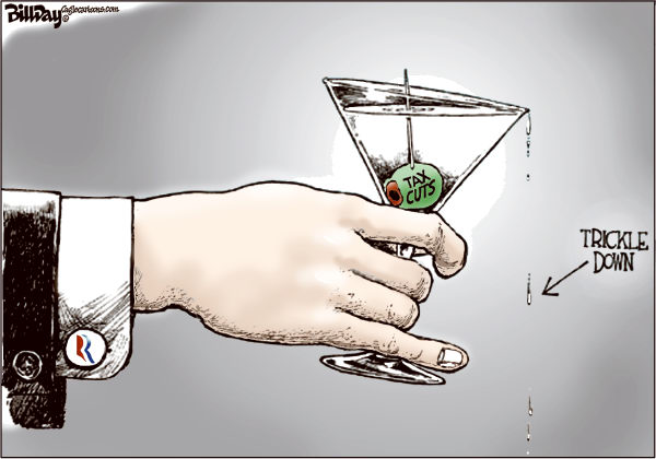 Bill Day - Cagle Cartoons - Trickle Down - English - Romney, tax cuts, rich, poor, martini