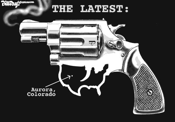 Bill Day - Cagle Cartoons - The Latest - English - guns, America, killings, Aurora, Colorado