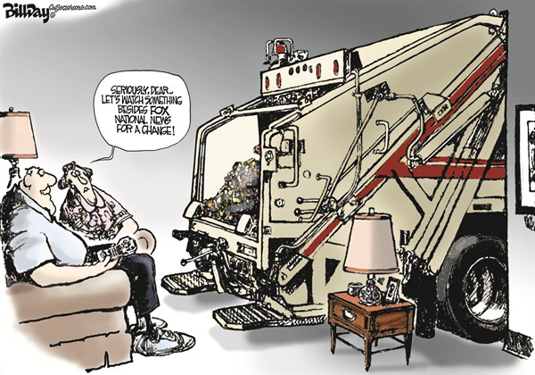 Bill Day - Cagle Cartoons - Sniffing Out the News - English - Fox TV, Murdoch, GOP, Romney, garbage truck