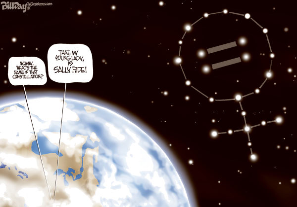 Bill Day - Cagle Cartoons - Sally Ride - English - Sally Ride, heroine, equality, constellation, astronaut