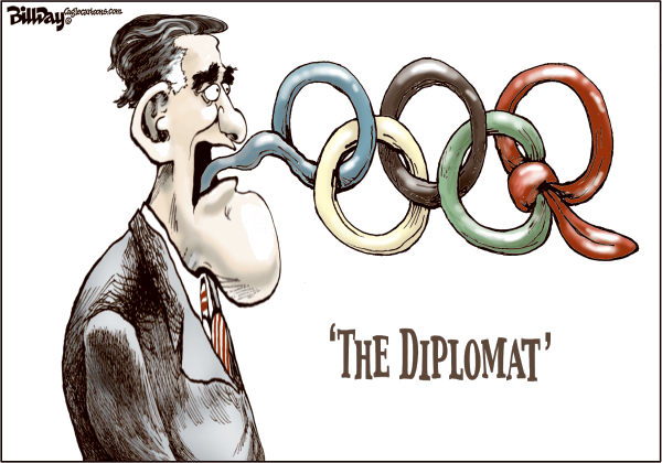 Bill Day - Cagle Cartoons - The Diplomat - English - Romney, Olympics, London, tongue, diplomacy