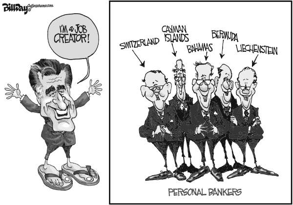 Bill Day - Cagle Cartoons - Job Creator - English - Romney, tax shelters, job creator, bankers
