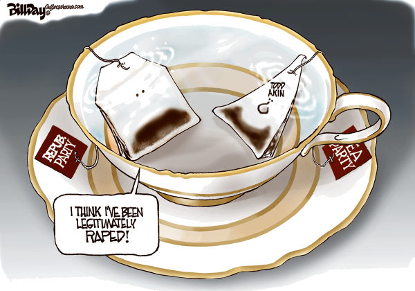 Bill Day - Cagle Cartoons - Teapublicans - English - Todd Akin, Tea Party, rape, GOP