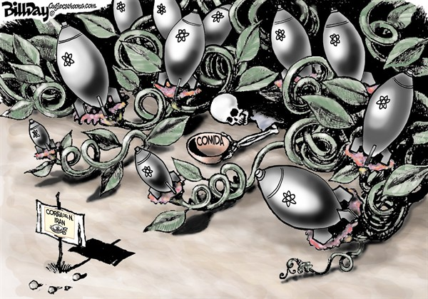 Bill Day - Cagle Cartoons - Semillas de Destruccion - Spanish - Armas,Nucleares,Corea,del,Norte,North,Korea,Iran,comida,Israel