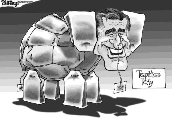 Bill Day - Cagle Cartoons - Teapublican Party - English - Romney, convention, GOP, elephant, Tea Party
