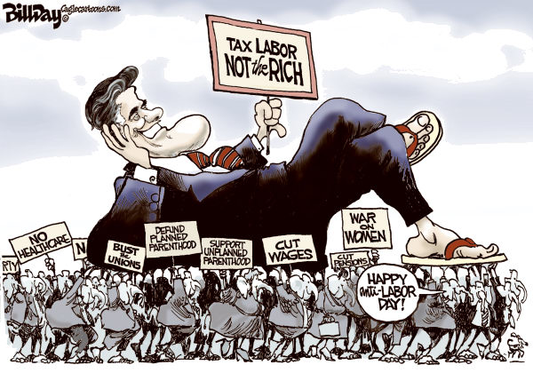 Bill Day - Cagle Cartoons - HAPPY anti-LABOR DAY - English - Romney, GOP, Labor Day, convention