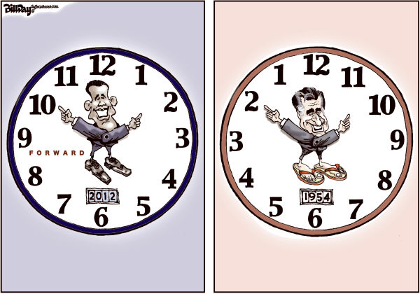 Bill Day - Cagle Cartoons - Forward - English - Obama, Romney, election, convention, watches